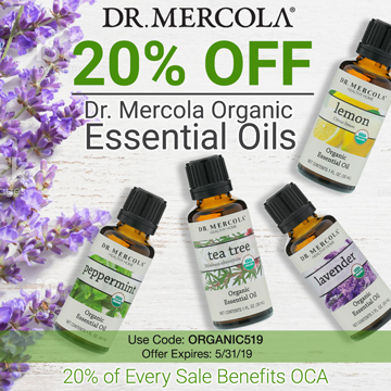 20% off Mercola's Organic Single Essential Oils and 20% goes to Organic Consumers Association.