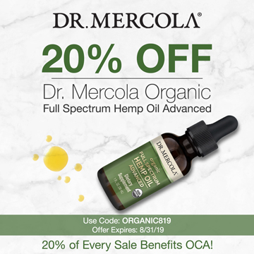 20% off Mercola's Full Spectrum Hemp Oil and 20% goes to Organic Consumers Association.