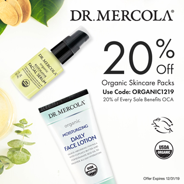 20% Off Mercola's Organic Facial Treatments and 20% Goes to Organic Consumers Association.