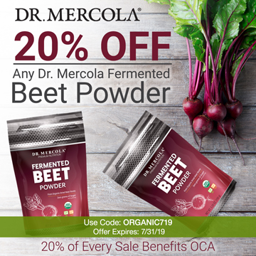 20% off Mercola's Organic Fermented Beet Powder and 20% goes to Organic Consumers Association.