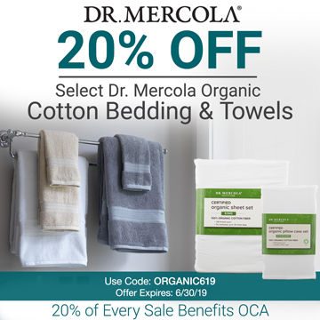 20% off Mercola's Organic Linens and Towels and 20% goes to Organic Consumers Association.