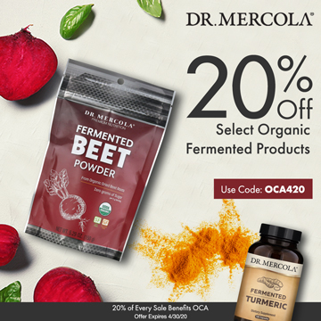 20% Off Mercola's Select Organic Fermented Products and 20% Goes to Organic Consumers Association.