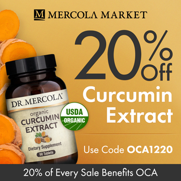 20% Off Mercola's Organic Curcumin Extract and 20% Goes to Organic Consumers Association.