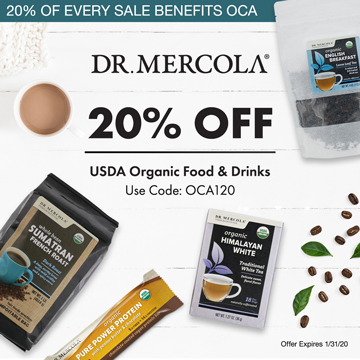 20% Off Mercola's Top Food and Drinks and 20% Goes to Organic Consumers Association.