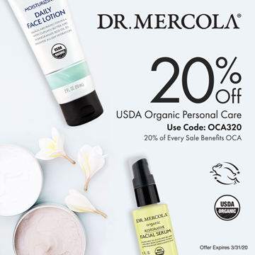 20% Off Mercola's USDA Organic Personal Care and 20% Goes to Organic Consumers Association.