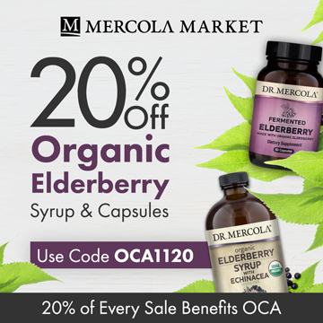 20% Off Mercola's Organic Elderberry Syrups and Capsules and 20% Goes to Organic Consumers Association.