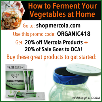 Get 20% off Mercola products, plus 20% of the sale goes to Organic Consumers Association.