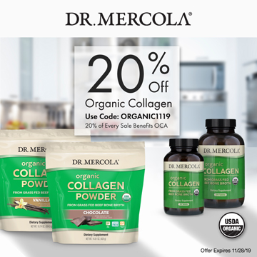 20% Off Mercola's Organic Collagen from Grass Fed Beef Bone Broth and 20% Goes to Organic Consumers Association.