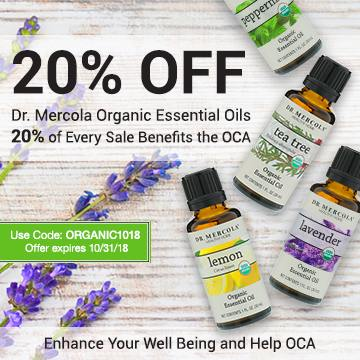 Get 20% off Mercola organic essential oil, plus 20% of the sale goes to Organic Consumers Association.