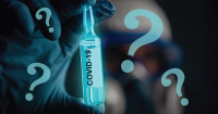 Hand holding a vial labeled Covid 19 surrounded by question marks