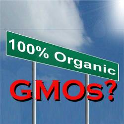 100% Organic road sign with red GMO stamp