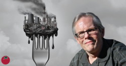 W Michael McCabe surrounded by pollution on a fork