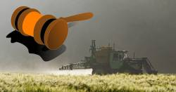 tractor on a farm field spraying herbicide on a wheat crop with a clipart judges gavel