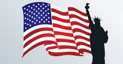 silhouette of the statue of liberty in front of the American flag