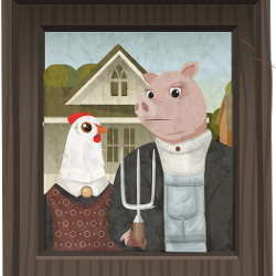 American Gothic version with chicken and pig