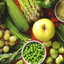 assortment of green fruits and vegetables