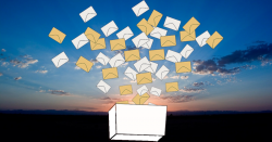 ballot box flooded with votes against a sunrise landscape