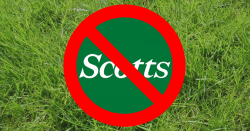 no symbol over scotts logo on background of grass