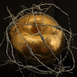 gold apple wrapped in barb wire