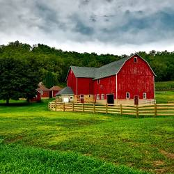 red barn in a farm field in Wisconsin