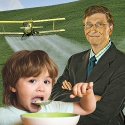 Bill Gates in a farm field with an aerial pesticide sprayer with a small child eating cereal