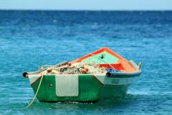 Small fishing boat on the ocean