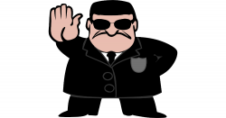 Black and white cartoon of a security agent holding up his hand in a STOP gesture