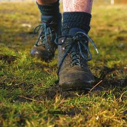 Boots walking along the ground