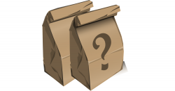 brown paper bag lunches with a question mark on the side