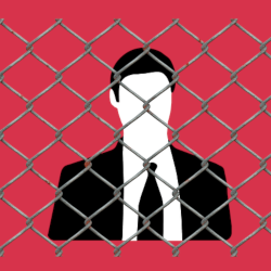 silhouette of man in business suit trapped behind chain link fence