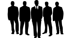 Silhouette of a group of corporate businessman