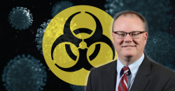 Photo of Dr. Christian Hassell over a virus background and image of biowarfare symbol