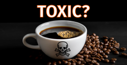 white mug of coffee with the word TOXIC over it and a skull on the cup