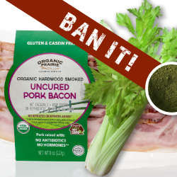 Celery powder with bacon behind it with the words 'ban it' over top