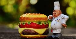 plastic toy cheeseburger and chef