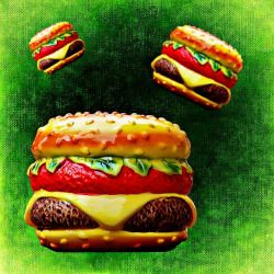 plastic toy cheeseburgers on a green background