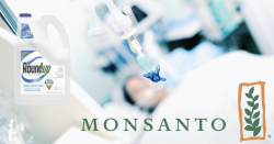 monsanto and Roundup logos in a chemo ward