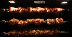 chickens roasting on a rotisserie