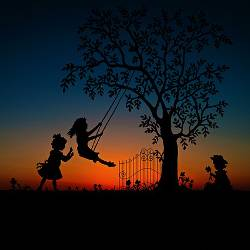 Silhouette of children playing on a tree swing