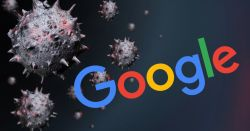 google logo surrounded by black and red renderings of coronavirus cells