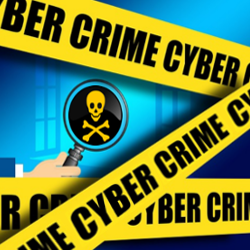 Cyber crime tape and a hand holding a magnifying glass looking at a skull and crossbones