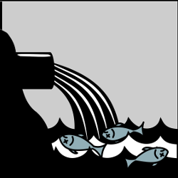 clipart of dead fish under a polluting dump site in the ocean