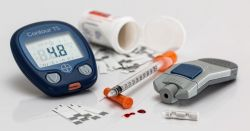 Insulin and blood sugar materials on white background