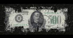 disintegrating 500 dollar bill