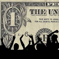 Silhouette of a crowd in front of a dollar bill