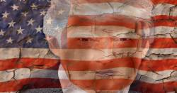 Donald Trump in front of a cracked and peeling American flag