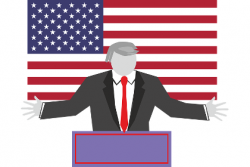Cartoon of Donald Trump giving a speech at a podium in front of an American Flag
