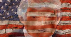 Donald Trumps image over a cracked and peeling American flag