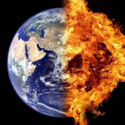 Planet earth half on fire in space