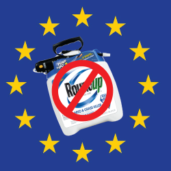 Ban roundup image on EU flag background